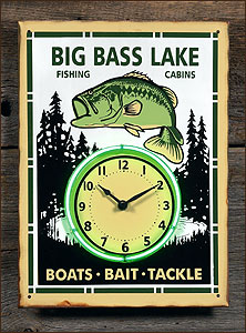 Big Bass Lake Neon Fishing Sign - Clock - Discontinued