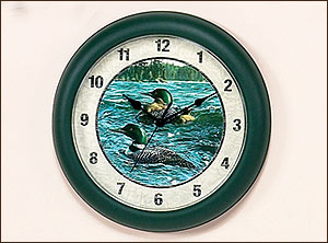 "10"" Loon Clock Cynthia Fisher"