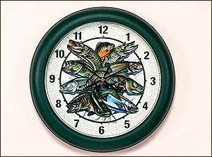 "10"" Multi Fish Clock-Jon Q. Wright"