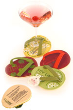Cocktail Time FlipFlop Wine Glass Coaster Set of 4