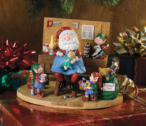 Work Bench with Santa Jingle Elves Vignette-Retired