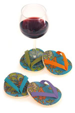 Aqua Flip Flop Wine Glass Coaster Set of 4