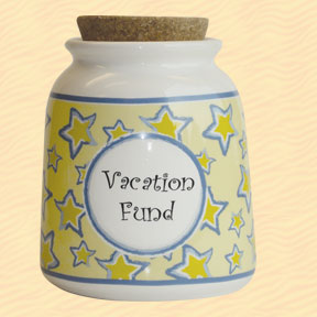 Tumbleweed Vacation Fund Designer Word Jar