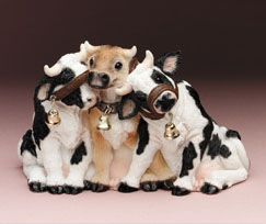 See No, Hear No... Cows Stone Critters Figurine