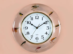 Transparent Fishing Fly Clock