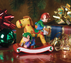 Rocking Horse Jingle Elves Vignette-Retired