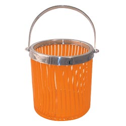 Orange striped glass ice bucket by Wild Eye Designs