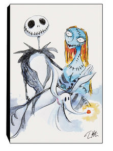 The Nightmare Before Christmas Jack and Sally Stretched Canvas