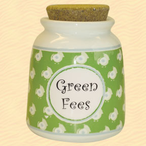 Tumbleweed Green Fees Designer Word Jar