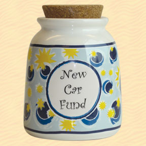 Tumbleweed New Car Fund Designer Word Jar