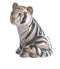 White Tiger Sitting # 803B Artesania Rinconada Silver Anniversary Collection
