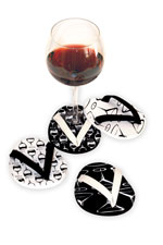 Black & White Flip Flop Glass Coasters Set of 4