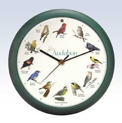 Audubon Singing Bird Clock - 8 inch green