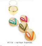 """Personalize It"" Rattan Frame Flip Flop Wine Glass Coasters Set of 4"