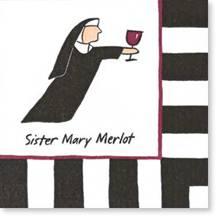 Sister Mary Merlot Nun for the Road Cocktail Drink Napkins-Discontinued