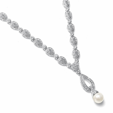 Lovely Pearl And Pave Zirconia Drop Necklace