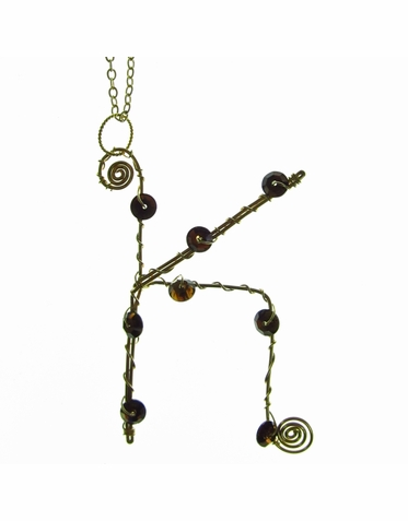 Rafia Jewelry - Large Initial Charm Necklace with Bronze Crystals