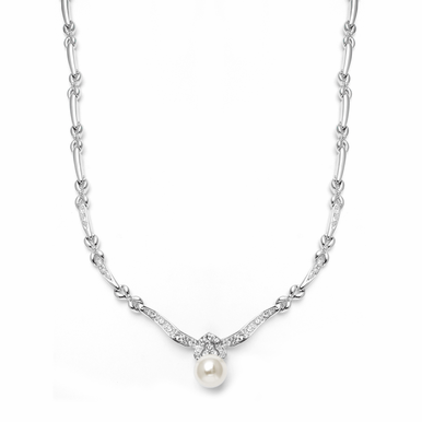Gorgeous Pearl and Pave Zirconia Necklace