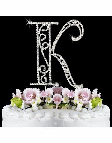 Romanesque Cake Letter in Crystals - Initial Cake Topper