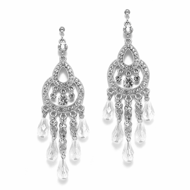 Vintage-Inspired Art Deco Rhinestone Filigree Chandelier Earrings