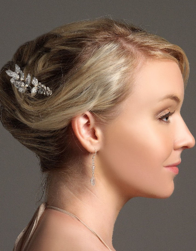 Silver Leaf Cluster Wedding Hairpin IPN005