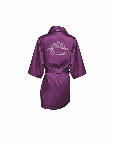 Rhinestone Princess Satin Robe with Tiara - Personalize It!