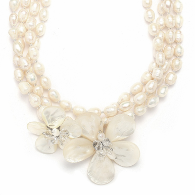 Enchanting, Semi-Precious Freshwater Pearl And Austrian Crystal Necklace