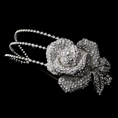 Antique Silver and Crystal Rose Headband 9951