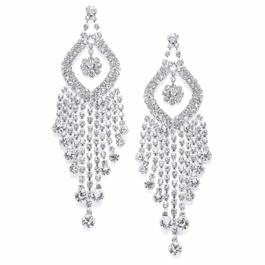 "Striking 4 3/8"" Austrian Crystal Chandelier Earrings"