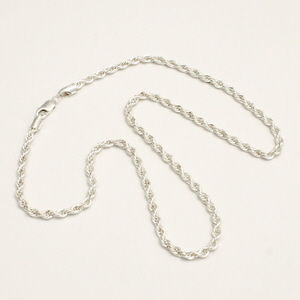 Sterling Silver Rope Chain Necklaee in 3 Lengths