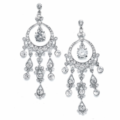 "Glamorous 3 1/2"" Vintage-Inspired Rhinestone Chandelier Earrings"