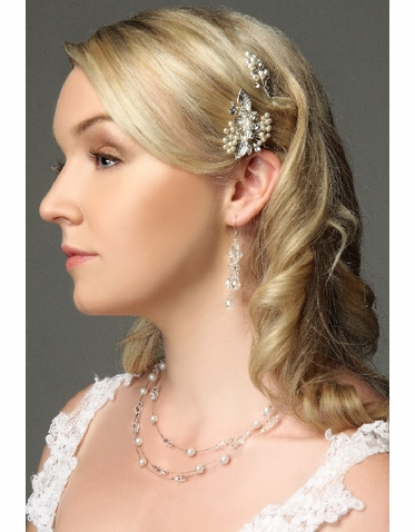 Wedding Hairpin With Crystal And Pearl Drops IPN011