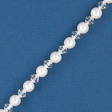 Alternating White Pearl and Crystal Bridal Bracelet