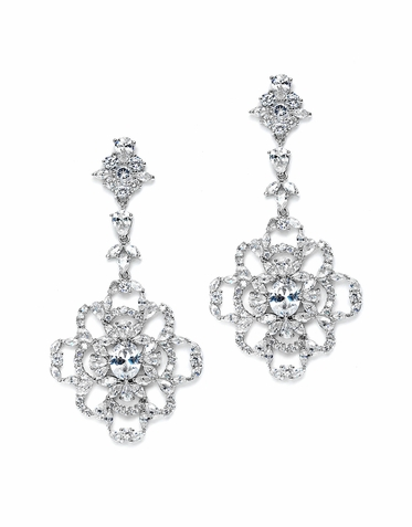 Breathtaking Zirconia Encrusted Drop Earrings