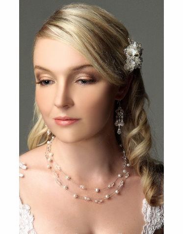 Crystal Bordered Filigree Flower Wedding Hairpin ICB008