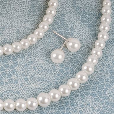 Custom Bridal Pearl Jewelry Set - Pearl Necklace, Bracelet and Earrings
