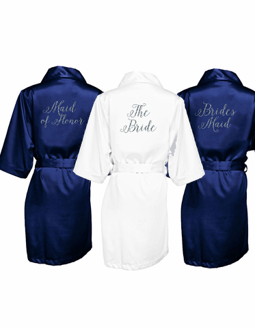 Glitter Bridal Party Robes with Cute Curly Font