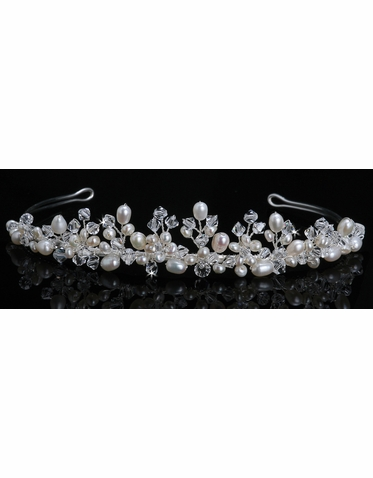 En Vogue Bridal Crystal & Pearl Tiara 611