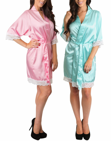 Satin Bridal Party Robes with White Lace Trim