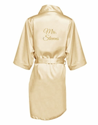 Personalized Mrs. Glitter Print Robe