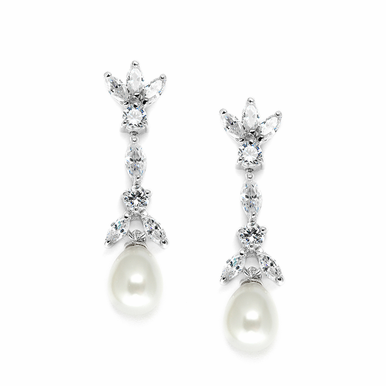 Freshwater Pearl And Crystal Drop Earrings
