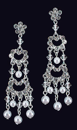 CLEARANCE: Crystal and Pearl Chandelier Earrings