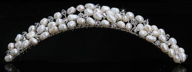 En Vogue Bridal Crystal & Pearl Tiara Comb TC964