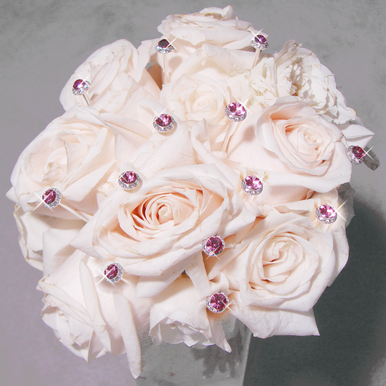Pink Crystal Bouquet Pave Buttons