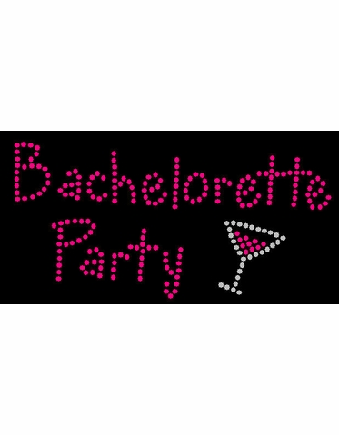 Bachelorette Party Rhinestone Design with Martini Glass