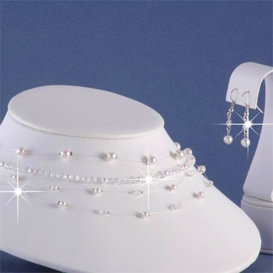 Pearl and AB Swarovski Crystal Bridal Necklace and Earrings Set