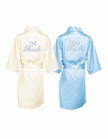 The Bride and Team Bride Rhinestone Embellished Satin Bridal Party Robes
