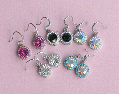 Colored Center Stone Crystal Earrings