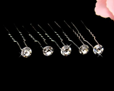 Set of 6 Clear Crystal Hairpins