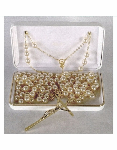 Wedding Lasso with Faux Pearls and Silver or Gold Crucifix